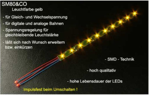 LED Waggonbeleuchtung SM80&CO Leuchtfarbe gelb